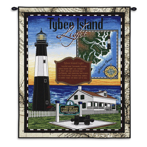 Tybee | Woven Tapestry Wall Art Hanging | Historic Atlantic Ocean Lighthouse Island | 100% Cotton USA Size 54x43 Wall Tapestry