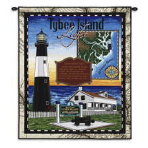 Tybee | Woven Tapestry Wall Art Hanging | Historic Atlantic Ocean Lighthouse Island | Cotton | Made in the USA | Size 54x43 Wall Tapestry