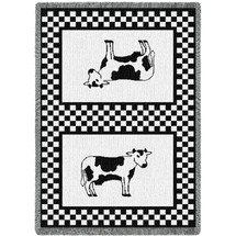 Bessie The Cow Woven Throw Blanket with Fringe by Artisan Textile Mill Pure Country Weavers USA Made Size 70 x 50 100% Cotton Woven to Last a Lifetime Afghan