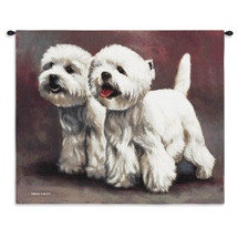 West Highland White Terrier III by Bob Christie | Woven Tapestry Wall Art Hanging | Delightful Pair of Adorable Puppies Oil Painting | 100% Cotton USA Size 33x26 Wall Tapestry