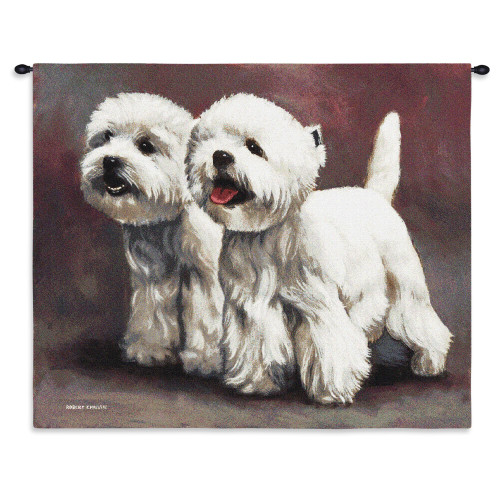 Pure Country Weavers - West Highland White Terrier 3 Hand Finished European Style Jacquard Woven Wall Tapestry. USA Size 26x33 Wall Tapestry