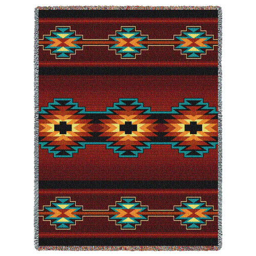 Pure Country Weavers - Esme Southwest Blanket | Woven Tapestry Camp Throw with Fringe Cotton USA 72x54 Tapestry Throw