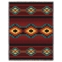 Esme - Southwest Native American Inspired Tribal Camp - Cotton Woven Blanket Throw - Made in the USA (72x54) Tapestry Throw