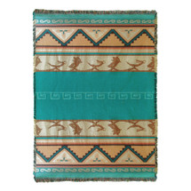 Pure Country Weavers - Pueblo Sunset Southwest Blanket   Woven Tapestry Camp Throw with Fringe Cotton USA 72x54 Tapestry Throw