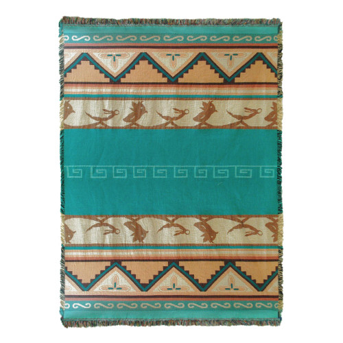 Pure Country Weavers | Pueblo Sunset Southwest Blanket | Woven Throw with Fringe Cotton USA 72x54 Tapestry Throw
