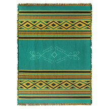 Pure Country Weavers - Desert Rain Southwest Blanket   Woven Tapestry Camp Throw with Fringe Cotton USA 72x54 Tapestry Throw