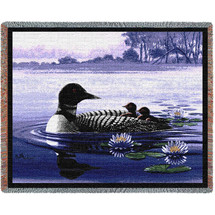 Pure Country Weavers - Loons Woven Tapestry Throw Blanket Cotton with Fringe Cotton USA 72x54 Tapestry Throw