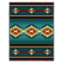Aydin - Turquoise - Southwest Native American Inspired Tribal Camp - Cotton Woven Blanket Throw - Made in the USA (72x54) Tapestry Throw