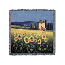 Golden Sunflower - David Short - Lap Square Cotton Woven Blanket Throw - Made in the USA (54x54) Lap Square