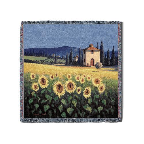 Golden Sunflower Woven Throw Blanket With Artistic Textured Design Cotton USA 54x54 Perfect Decor Gift for Mother Daughter Father Son Him Her Lap Square