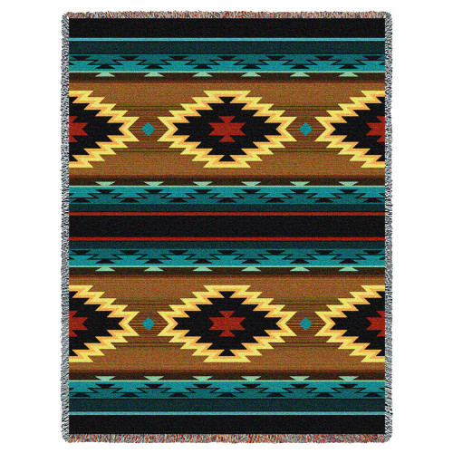 Pure Country Weavers - Anatolia Southwest Blanket | Woven Tapestry Camp Throw with Fringe Cotton USA 72x54 Tapestry Throw