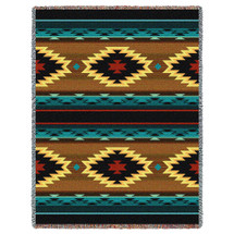 Anatolia - Southwest Native American Inspired Tribal Camp - Cotton Woven Blanket Throw - Made in the USA (72x54) Tapestry Throw