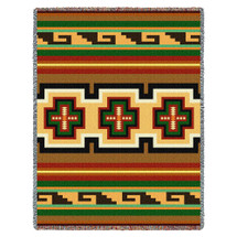Hayat - Southwest Native American Inspired Tribal Camp - Cotton Woven Blanket Throw - Made in the USA (72x54) Tapestry Throw