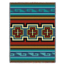 Sarkoy - Turquoise - Southwest Native American Inspired Tribal Camp - Cotton Woven Blanket Throw - Made in the USA (72x54) Tapestry Throw