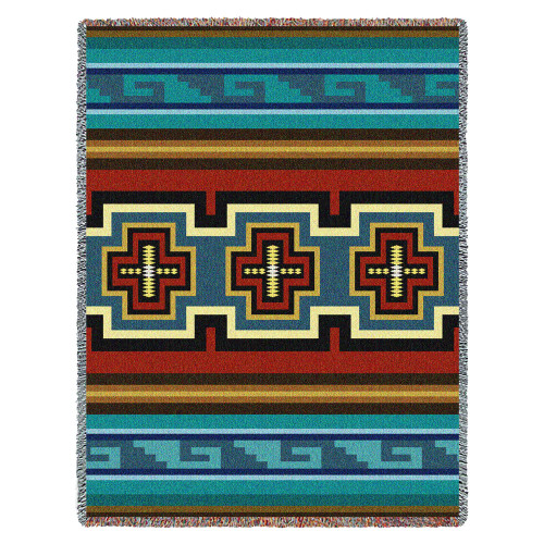 Pure Country Weavers | Sarkoy Southwest Blanket | Woven Throw with Fringe Cotton USA 72x54 Tapestry Throw