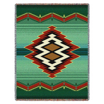Turak - Southwest Native American Inspired Tribal Camp - Cotton Woven Blanket Throw - Made in the USA (72x54) Tapestry Throw