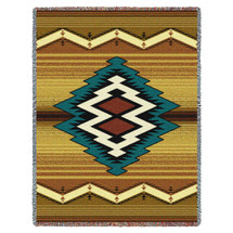 Maimana - Southwest Native American Inspired Tribal Camp - Cotton Woven Blanket Throw - Made in the USA (72x54) Tapestry Throw