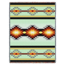 Sevah - Southwest Native American Inspired Tribal Camp - Cotton Woven Blanket Throw - Made in the USA (72x54) Tapestry Throw
