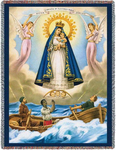 Our Lady of Charity El Cobre Cobija Blessed Virgin Mary Woven Blanket Large Soft Comforting Throw 100% Cotton Made in the USA 72x54 Tapestry Throw