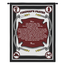 Pure Country Weavers - Firefighters Fireman Prayer Poem Wall Tapestry USA Wall Tapestry