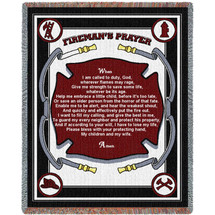 Firefighters Fireman Prayer Woven Throw Blanket Large Soft Comforting With Artistic Textured Design 100% Cotton Made in the USA 72x54 Tapestry Throw