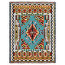 Pure Country Weavers - Painted Hills Turquoise Southwest Blanket   Woven Tapestry Camp Throw with Fringe Cotton USA 72x54 Tapestry Throw