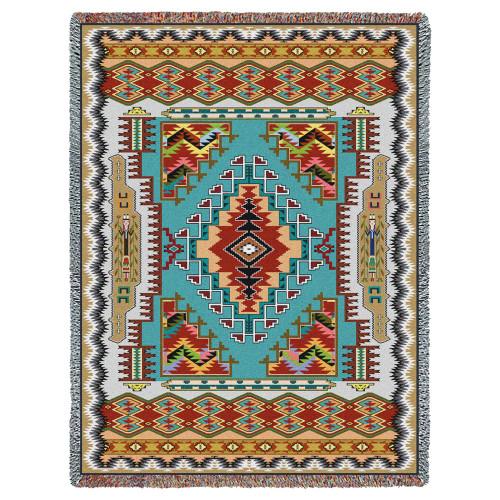 Pure Country Weavers | Painted Hills Turquoise Southwest Blanket | Woven Throw with Fringe Cotton USA 72x54 Tapestry Throw