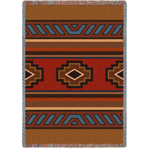 Pure Country Weavers - Chimayo Southwest Blanket   Woven Tapestry Camp Throw with Fringe Cotton USA 72x54 Tapestry Throw