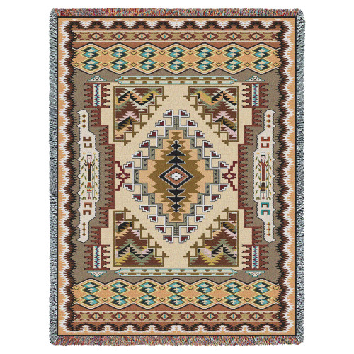 Pure Country Weavers - Painted Hills Sand Southwest Blanket | Woven Tapestry Camp Throw with Fringe Cotton USA 72x54 Tapestry Throw