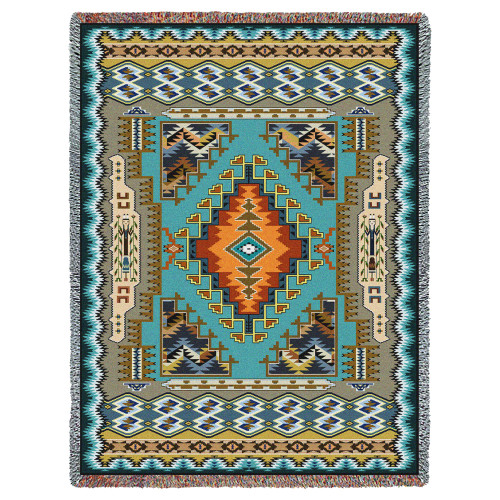 Pure Country Weavers - Painted Hills Sky Southwest Blanket   Woven Tapestry Camp Throw with Fringe Cotton USA 72x54 Tapestry Throw