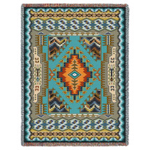 Painted Hills - Sky - Southwest Native American Inspired Tribal Camp - Cotton Woven Blanket Throw - Made in the USA (72x54) Tapestry Throw