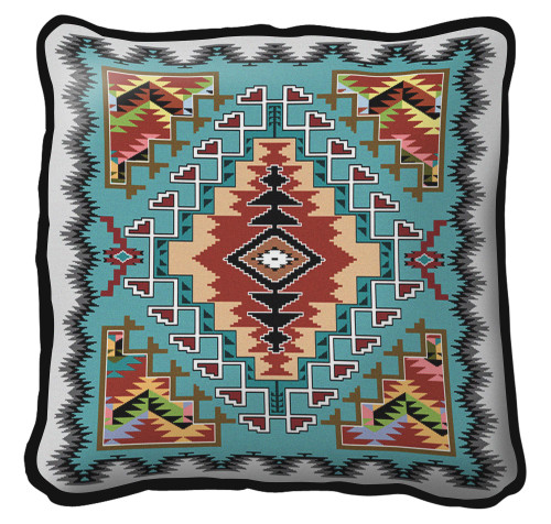 Painted Hills Turquoise Hand finished Woven Pillow by Pure Country Weavers.  Made in the USA.  Size 17 x 17 Woven to Last a Lifetime Pillow