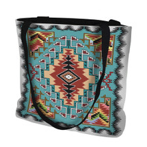 Painted Hills Turquoise Hand Finished Large Woven Tote Bag Cotton USA by Artisan Textile Mill Pure Country Weavers Tote Bag