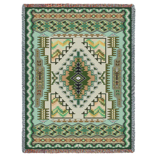Pure Country Weavers - Painted Hills Sage Southwest Blanket | Woven Tapestry Camp Throw with Fringe Cotton USA 72x54 Tapestry Throw