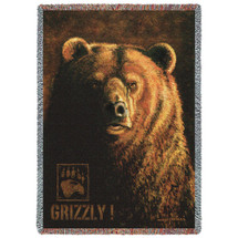 Pure Country Weavers - Shadow Beast Grizzly Bear Lodge Cabin Hunting Decor Woven Tapestry Throw Blanket with Fringe Cotton USA Cotton 72x54 Tapestry Throw