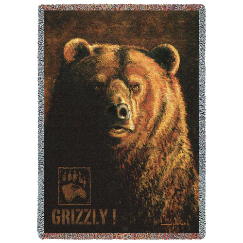 Pure Country Weavers - Shadow Beast Grizzly Bear Lodge Cabin Hunting Decor Woven Large Soft Comforting Throw Blanket With Artistic Textured Design Cotton USA Cotton 72x54 Tapestry Throw