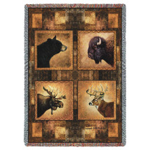 Big Game Heads Black Bear Moose Buffalo Buck Deer Lodge Cabin Hunting Woven Blanket Large Soft Comforting Lodge Décor Throw 100% Cotton Made in the USA 72x54 Tapestry Throw