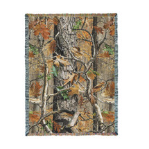 Oak Woods Camo Camouflage Lodge Cabin Hunting Woven Blanket Large Soft Comforting Lodge Décor Throw 100% Cotton Made in the USA 72x54 Tapestry Throw