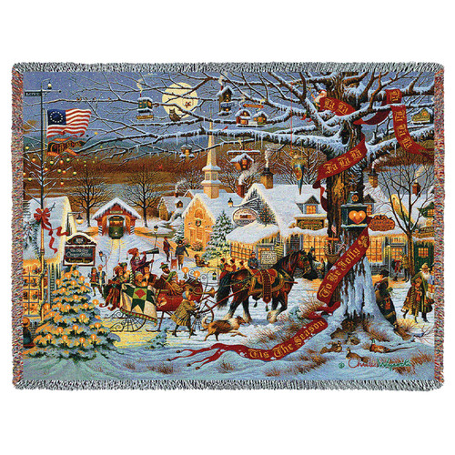 Small Town Christmas - Charles Wysocki - Cotton Woven Blanket Throw - Made in the USA (72x54) Tapestry Throw
