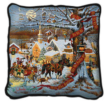 Small Town Christmas Hand Finished single sided Woven Pillow Cover.  100% Cotton Made in the USA.  Size 17 x 17 Woven to Last a Lifetime Pillow