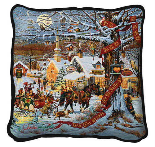 Small Town Christmas by Charles Wysocki Pillow