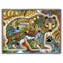 Grizzly Bear Blanket, Native American Style Colorful Animal Throw Blanket, Pacific Northwest Totem by Sue Coccia – Woven Bear Tapestry w/ Cotton Fringe (72x54) Made in USA Tapestry Throw