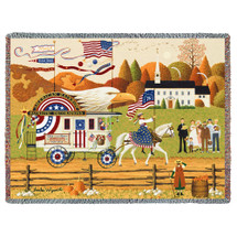 So Proudly We Hail - Charles Wysocki - Cotton Woven Blanket Throw - Made in the USA (72x54) Tapestry Throw