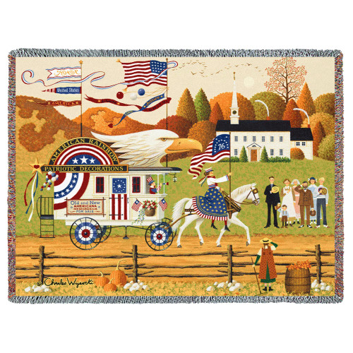 So Proudly We Hail Patriotic Throw Blanket American Pride Large Woven Cotton Made in the USA 72x54 Tapestry Throw