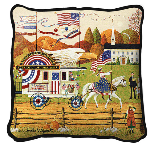 So Proudly We Hail Textured Hand Finished Elegant Woven Throw Pillow Cover 100% Cotton Made in the USA Size 17x17 Pillow