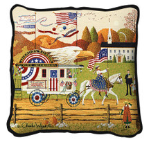 So Proudly We Hail Hand Finished single sided Woven Pillow Cover.  100% Cotton Made in the USA.  Size 17 x 17 Woven to Last a Lifetime Pillow