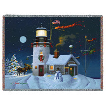 Take Out Window Christmas  Blanket Throw Woven from Cotton Made in The USA 72x54 Tapestry Throw