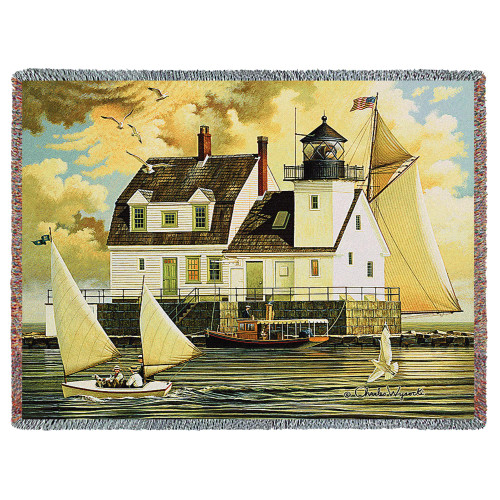 Coastal Sailing Woven Blanket Large Soft Comforting Rockland Breakwater Light Throw 100% Cotton Made in the USA 72x54 Tapestry Throw