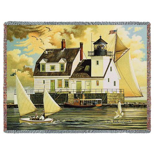 Rockland Breakwater Light - Tapestry Throw