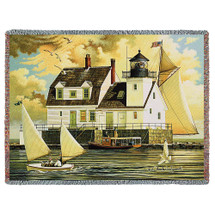 Rockland Breakwater Light - Charles Wysocki - Cotton Woven Blanket Throw - Made in the USA (72x54) Tapestry Throw